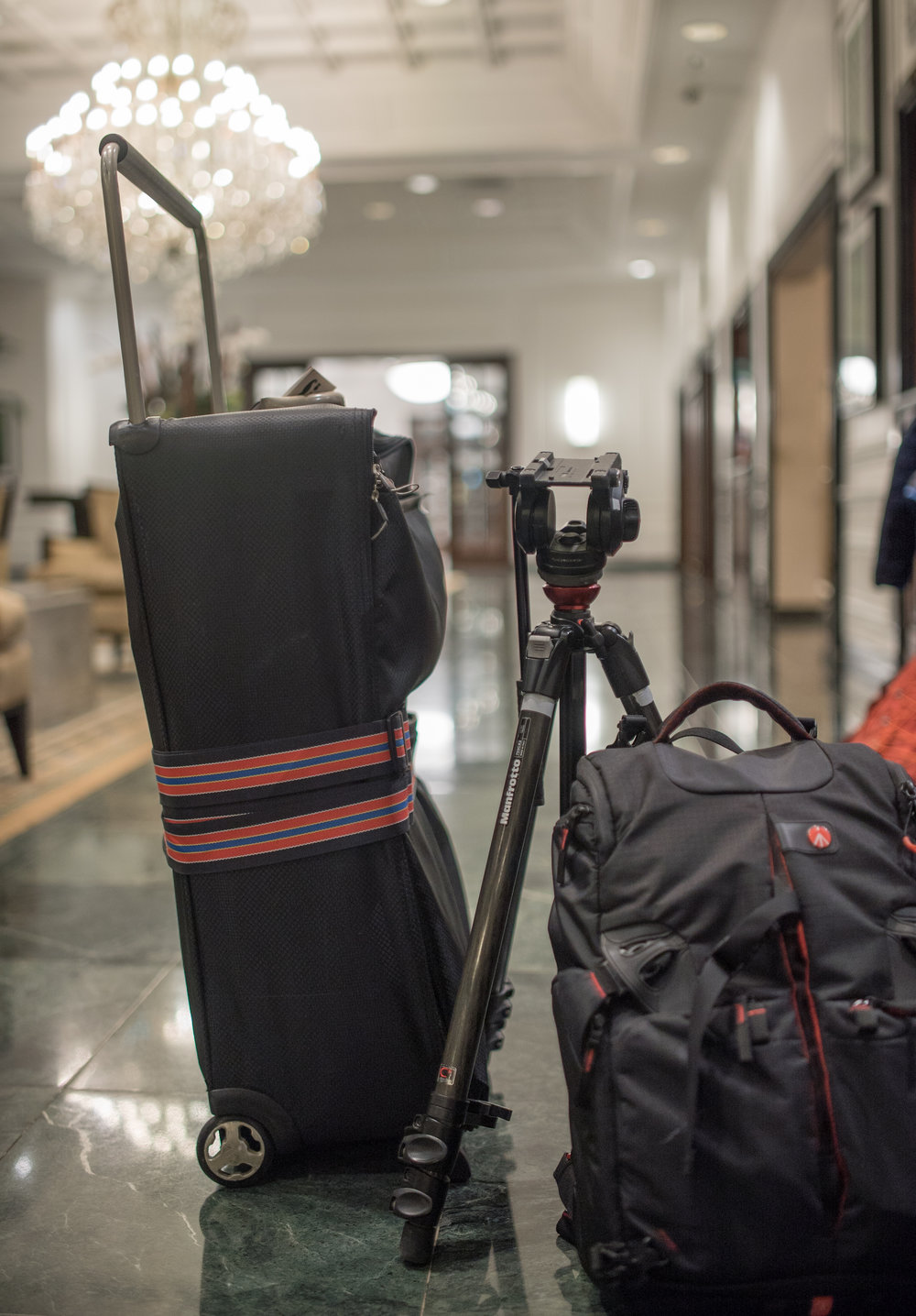 Manfrotto Pro Light 35 Backpack and 755 CX 3 tripod.