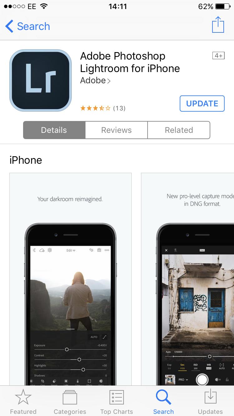 Adobe Photoshop Lightroom app iTunes IPhone Photography