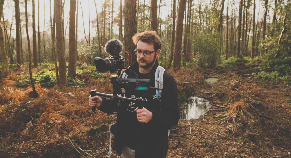 Adam using the Zhiyun Crane gimbal, Sony a7S, Atomos Shogun, Rode videomicro