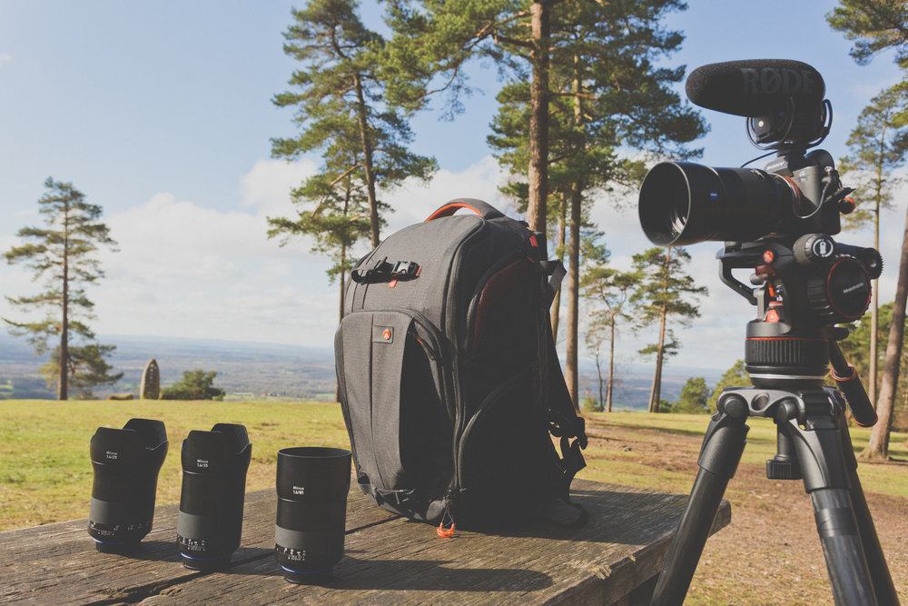 The range of equipment used in The Great Outdoors filming. Inc Manfrotto NITRO N8, 535 MPRO, ZEISS Milvus Super Speed Primes