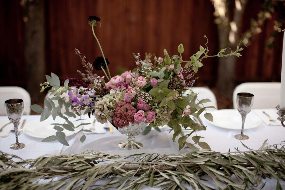 Blushing bride, amaranth, garden roses, speckled hydrangea, passion vine, eucalyptus, lemon balm