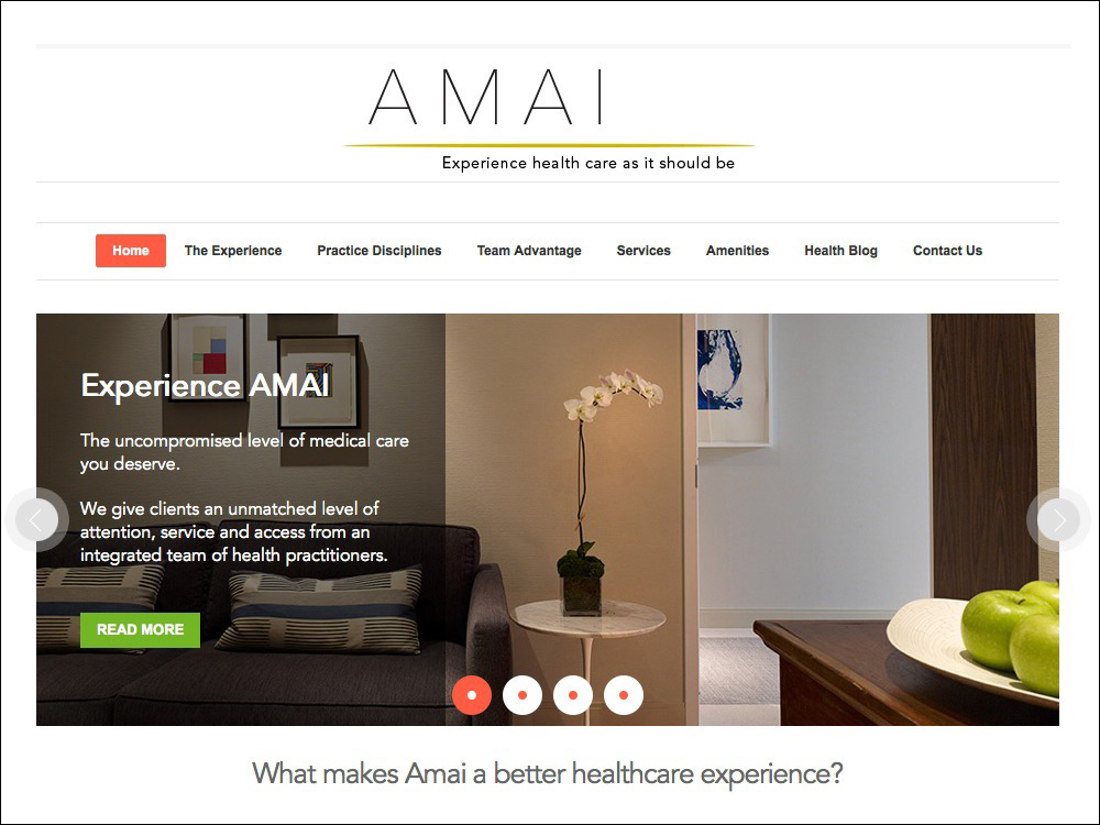 Healthcare website writing and branding.