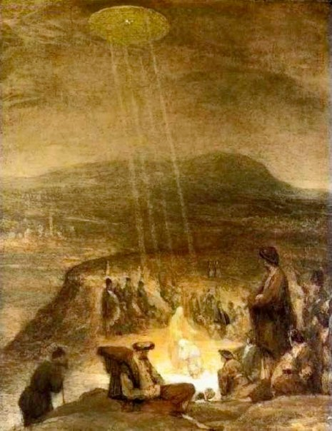 "This painting is by flemish artist Aert De Gelder and is entitled ""The Baptism of Christ"" It was painted in 1710 and hangs in the Fitzwilliam Museum, Cambridge. A disk shaped object is shining beams of light down on John the Baptist and Jesus."