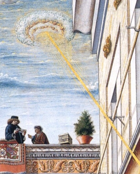 "Closeup image of the painting by Carlo Crivelli (1430-1495) called ""The Annunciation with Saint Emidius""."
