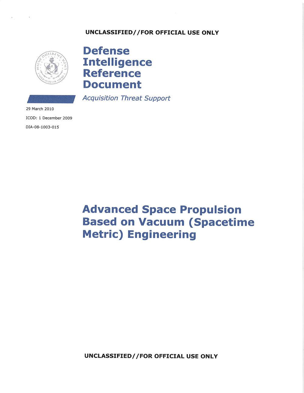 #5 Advanced Space Propulsion Based on Vacuum (Spacetime Metric) Engineering