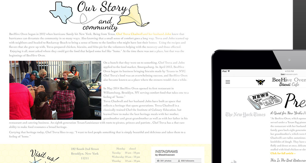 "view of ""Our Story and Community"" on wide screen desktop"