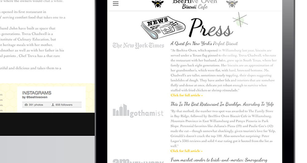 "View of ""Press"" page displayed on iPad"