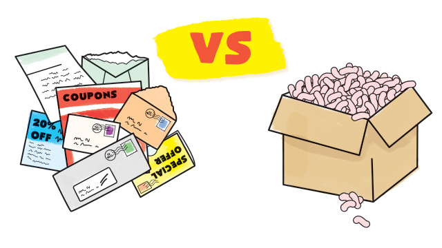 JUNK MAIL VS. PACKING PEANUTS