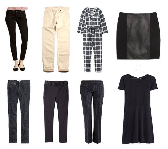 Clockwise from top left: Levi's 711 Jeans, Levi's Men's Jeans (similar), Steven Alan Crossover Jumpsuit, Madewell Leather Panel Skirt (similar), Madewell Dress, Isabel Marant Etoile Pants (similar), Steven Alan City Sweatpants, Madwell Skinny Skinny Jeans