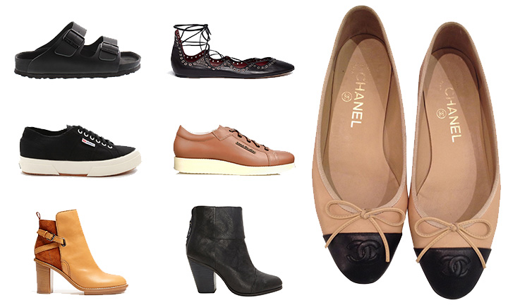 Monterey Birkenstocks  , Zara Lace-up Flats (  similar  ),   Chanel Ballet Flats  ,   Superga Cotu Sneakers  ,   Acne Kobe Sneakers  ,   Acne Cypress Booties  ,   Rag & Bone Newbury Booties