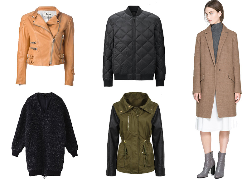 Clockwise from top left: Acne Studios Moi Jacket ( similar ),  Uniqlo Down Jacket , Zara Coat ( similar ), Zara Jacket ( similar ),  Steven Alan Berlyle Cardigan