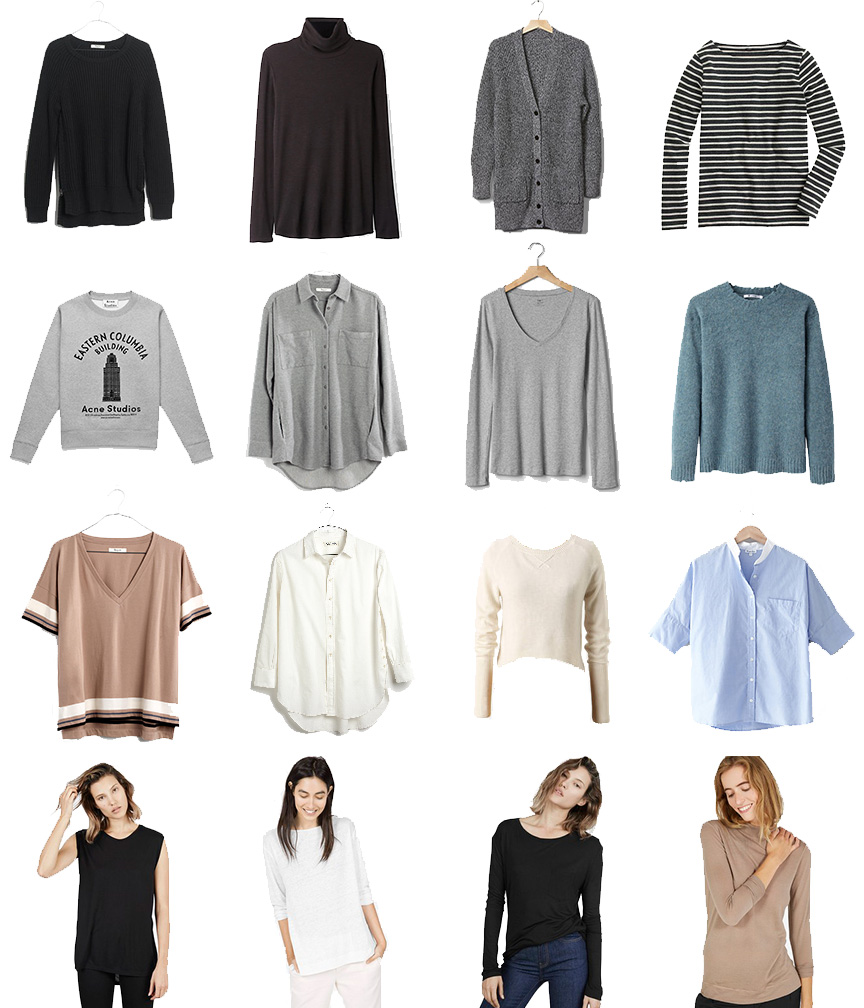 Madewell Sweater (similar), Steven Alan Turtleneck (similar), Gap Cardigan, J. Crew Tee (similar), Acne Sweatshirt (similar), Madewell Shirt, Gap Tee, T by Alexander Wang Sweater (similar), Madewell Tee, Madewell Shirt (similar), Anthropologie Sweater (similar), Steven Alan Shirt (similar), Everlane Ryan Tank, Everlane Linen Tee, Everlane Ryan Tee, Everlane Sweater