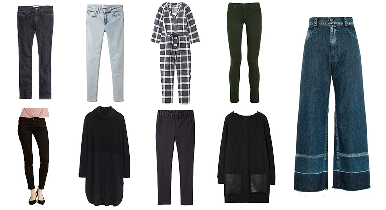 Madewell Skinny Skinny  , Acne Studios Skin 5 (  similar  ),   Steven Alan Jumpsuit  , Rag & Bone Tuxedo Stripe Jeans ( similar ),   Levi's 711  ,  Madewell Dress ,   Steven Alan City Sweat  pant  , COS Tunic ( similar ),   Nasty Gal Mad Crops   (pictured are   these  )