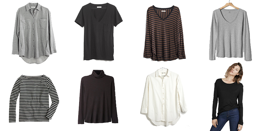 Madewell Shirt  ,  Madewell Tee ,  Madewell Striped Shirt , Gap Tee (old),   J. Crew Tee (  similar  ),   Steven Alan Turtleneck (  similar  ),   Madewell Shirt (  similar  ),      Everlane Ryan Tee