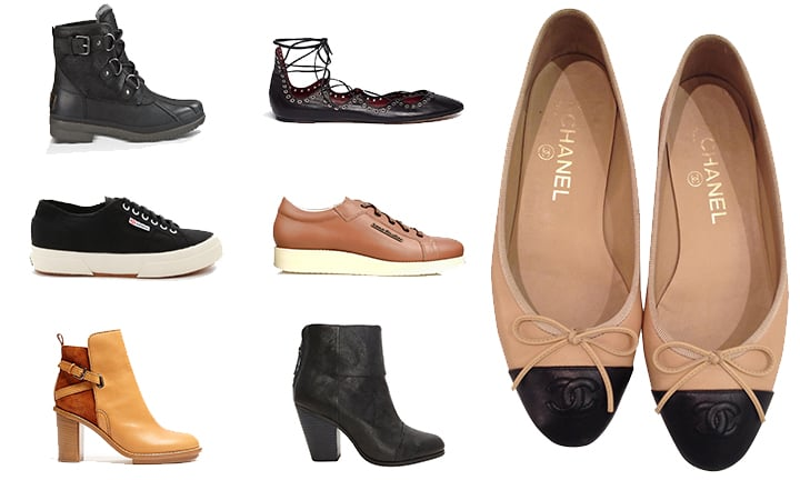 Ugg Cecile Boots, Zara Lace-up Flats (similar), Chanel Ballet Flats, Superga Cotu Sneakers, Acne Kobe Sneakers, Acne Cypress Booties, Rag & Bone Newbury Booties