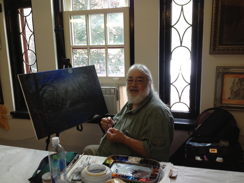 "PHIL OSTRANDER is our ""Chief in charge"" of our OPEN STUDIO on Fridays and Saturdays 10am-1pm. He is our artist in residence and has been an active supporter of Liverpool Art Center since 2003 as well as an award winning artist in the NYS Fair and OMOT Everson Exhibition. Stop in during OPEN STUDIO with PHIL and chat about the arts."