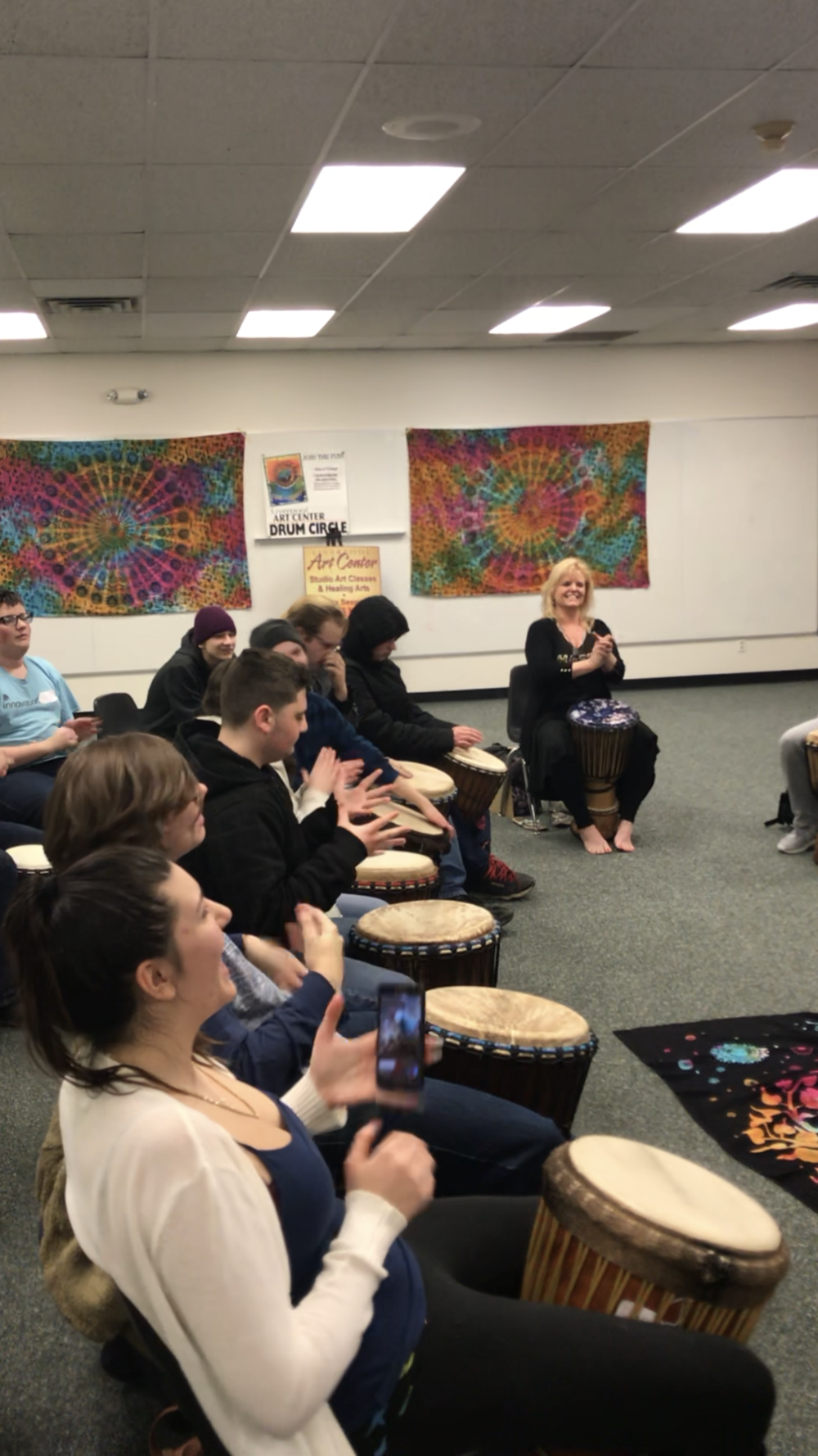 All expressive arts offer ways to have fun and feel joy in arenas that invite us to step out of our comfort zone. Drum! Paint! Draw! Move! Speak!