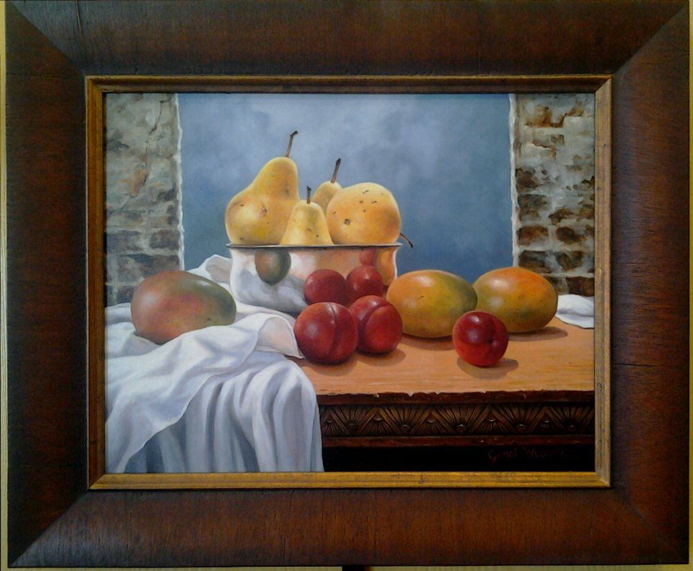 """Pears, Mangoes, Plums"" original oil by Janet Weaver- $575 (18"" x 15"")"