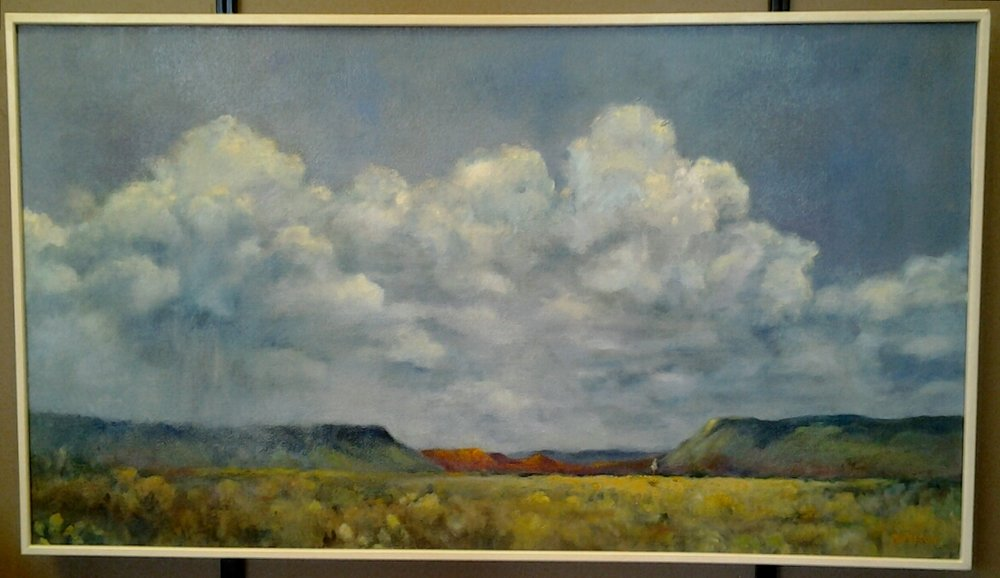 """Approaching Showers"" original oil by Rosemary Nelson - $750 (33"" x 19"")"