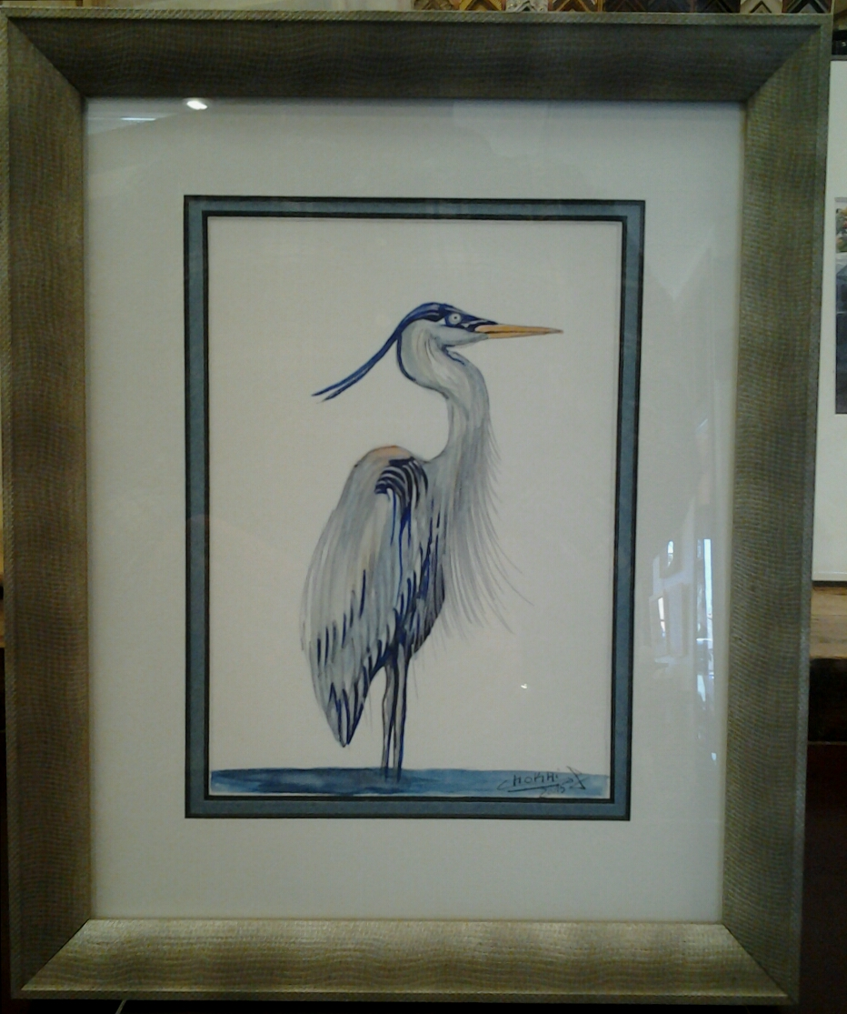 """Heron"" original watercolor by Chokri Aoaud - $98 (9"" x 11"")"