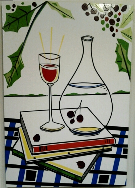 """The Water and the Wine"" original masking tape art by Beth Detwiler - $375 (16"" x 24"")"