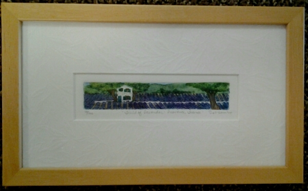 """Field of Lavendar - Provence, France"" original hand-colored etching by Deborah Hiner - $48 (9"" x 5"")"