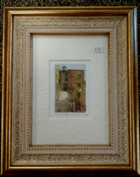 """Village in Tuscany"" original hand-colored etching by Deborah Hiner - $48 (8"" x 10"")"