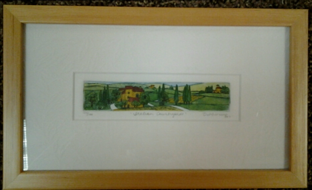 "Italian Countryside"" original hand-colored etching by Deborah Hiner - $48 (9"" x 5"")"