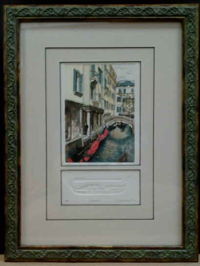 """Afternoon in Venice"" original hand-colored etching and embossing by Deborah Hiner - $115 (13"" x 19"")"