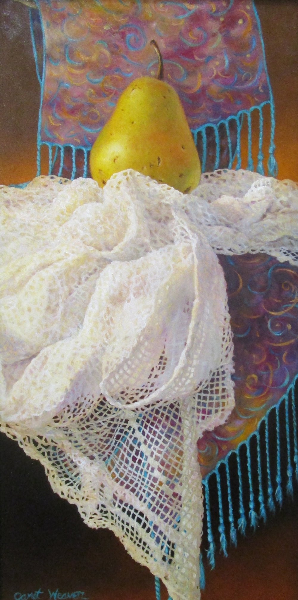BoHo Pears No.4 - By Janet Weaver12 x 24 Oil on Board, Framed $995Come view an amazing show by Cottonwood Artist Janet Weaver.  With over 30 paintings on display, her awe-inspiring, hyper realistic oil paintings have a huge presence in our gallery!