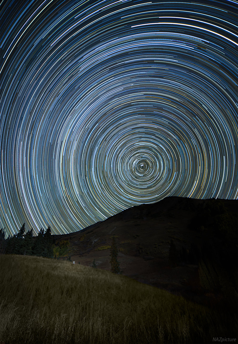A full night of star trails near Crested Butte, Colorado. [Schofield Pass]