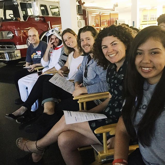 Five judges and a fire truck 🚒  Getting ready to see presentations from hard hacking teams at #CodedayLA  @codedayla #codeday @make_in_la @hackerfund #hackathon #tech #techLA #hackers