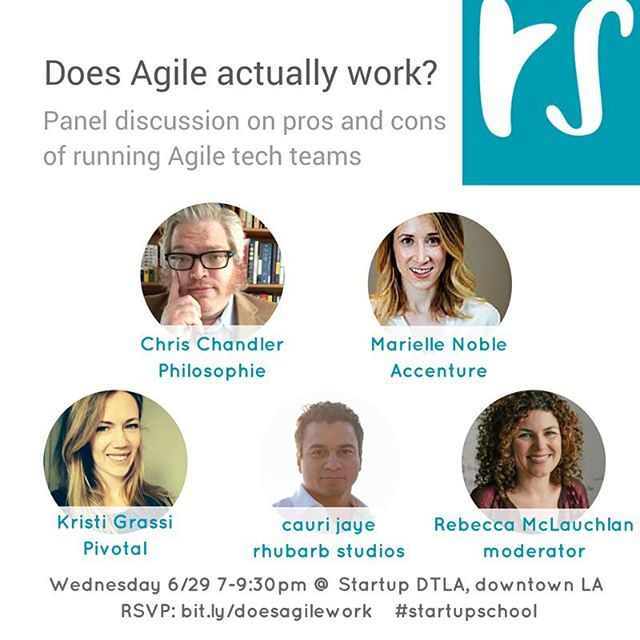 Does Agile actually work? Join us in conversation with a stellar panel from @pivotal_la @accenture and #gophilosophie - about how they make their #Agile #tech teams fly ... and how to avoid hiccups.  Weds 29 June, 7pm, DTLA bit.ly/doesagilework  #balanced #startup #leanstartup #techLA #entrepreneur #innovation #productivity