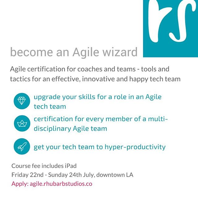 Become an Agile wizard! rhubarbU's 3-day intensive #Agile certification course is the first Agile training designed for multi-disciplinary teams.  Whether you're #product, #UX, #engineer or coach - this course will give you the skills to optimise how you work together on an Agile team.  Course fee includes an iPad for you to keep, loaded with all the software needed for hyper-#productivity.  Find out more and apply: agile.rhubarbstudios.co  #tech #techLA #balanced #balancedteam #training #rhubarbU #dtla #dtlatech
