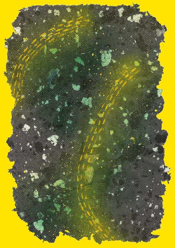 Cheralyn Lim, Trekker, 2015, Handmade paper, spray paint, acrylic paint.