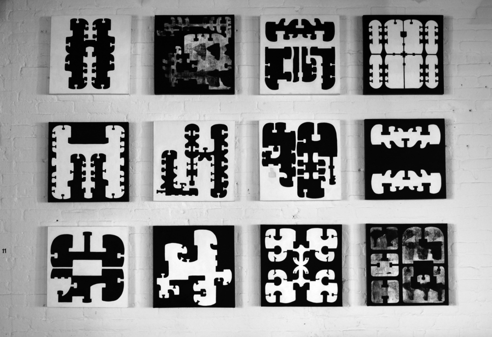 INTUIGRAMS.   2011. Acrylic on canvas. 18 x 18 in (each)