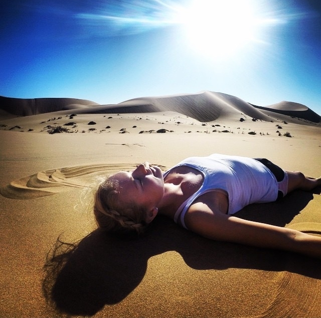 Me making a sand angel in the Namib desert