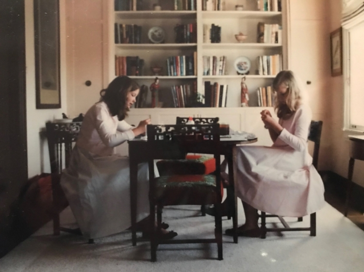 A picture of me and my sister crafting in my grandmother's apartment, circa age 11.
