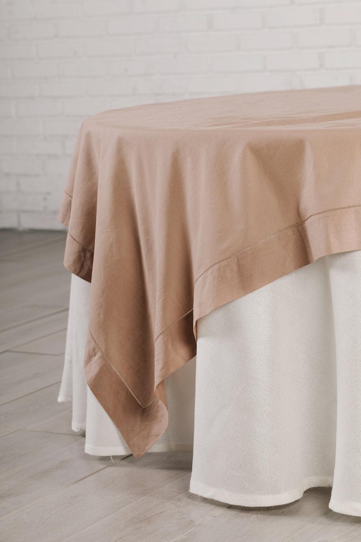 _ Mantel Lino Ivory & Cubre Mantel Lino