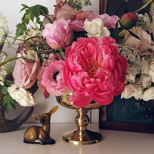 Spring arrangement with farm peonies.