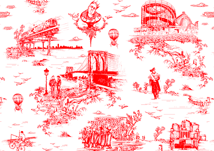 Detail Mike Diamond's Brooklyn toile.
