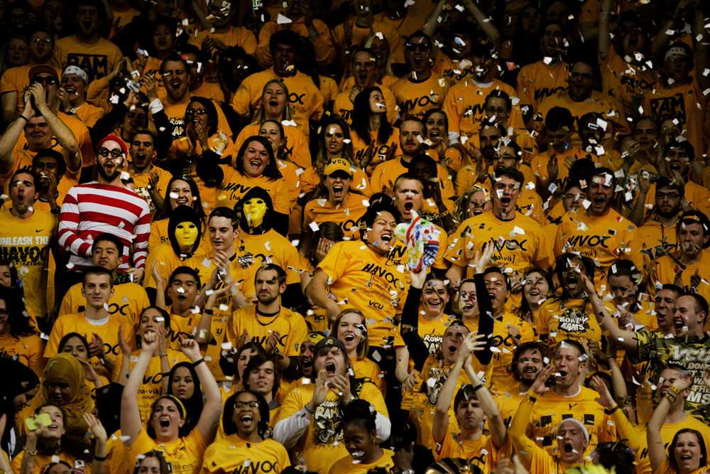 The student section at VCU celebrates a win over St. Louis, Feb. 11, 2013 in Richmond, Va.