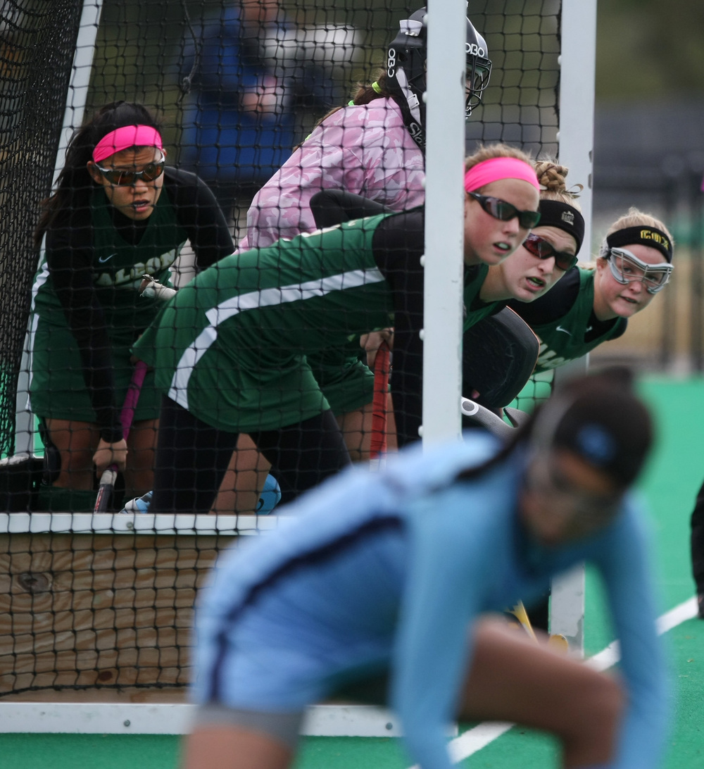 Cox defenders prepare for a First Colonial corner during second half action of Cox's 1-0 win to claim their 18th State title, Saturday, Nov. 16, 2014 at the National Training Center in Virginia Beach.    (Jason Hirschfeld | For The Virginian-Pilot)