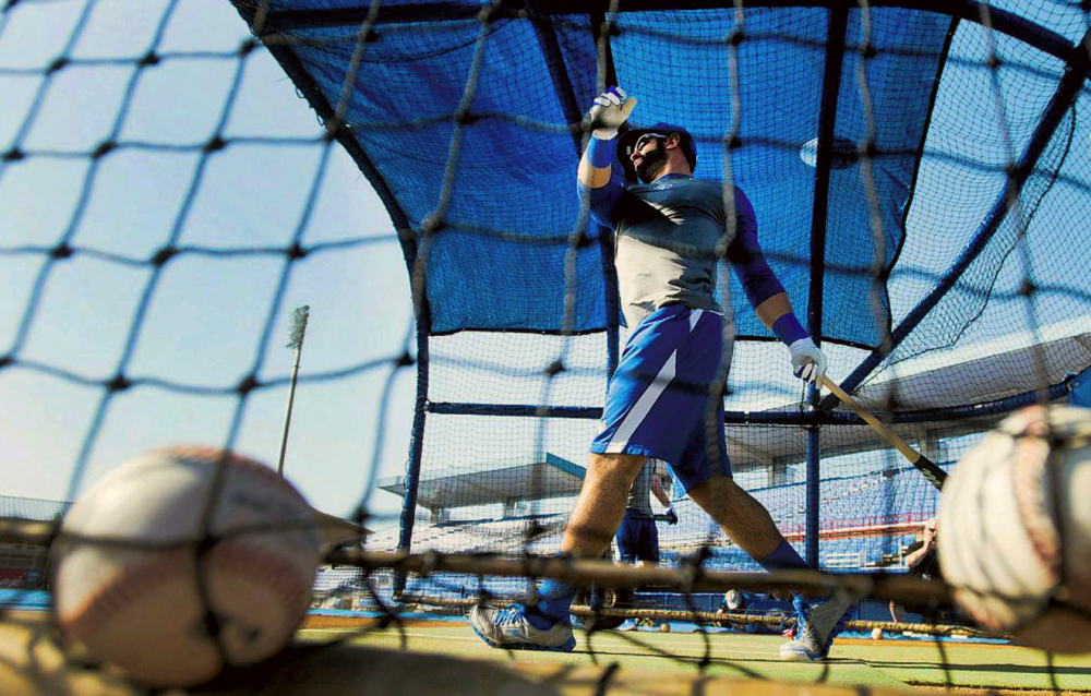 Toronto Blue Jays outfielder José Bautista takes some swings during an afternoon workout at the Blue Jays' complex in Dunedin, FL.