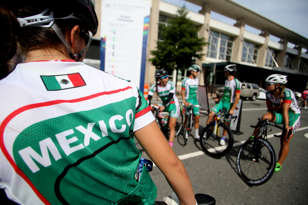 Members of the Mexican cycling team prepare to head out for the Road Circuit Training portion of the UCI Road World Championships cycling races in Richmond, Va., Thursday, Sept. 24, 2015. (AP Photo/Jason Hirschfeld)