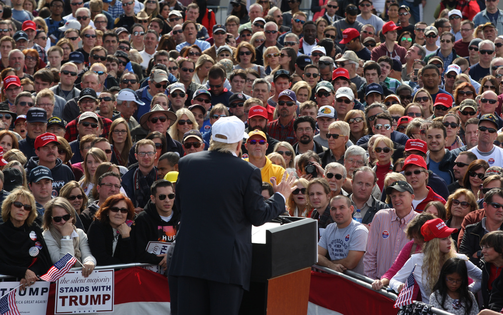Republican presidential candidate Donald Trump speaks to supporters during a rally, Saturday, Oct. 31, 2015 in Norfolk, Va.   (AP Photo/Jason Hirschfeld)