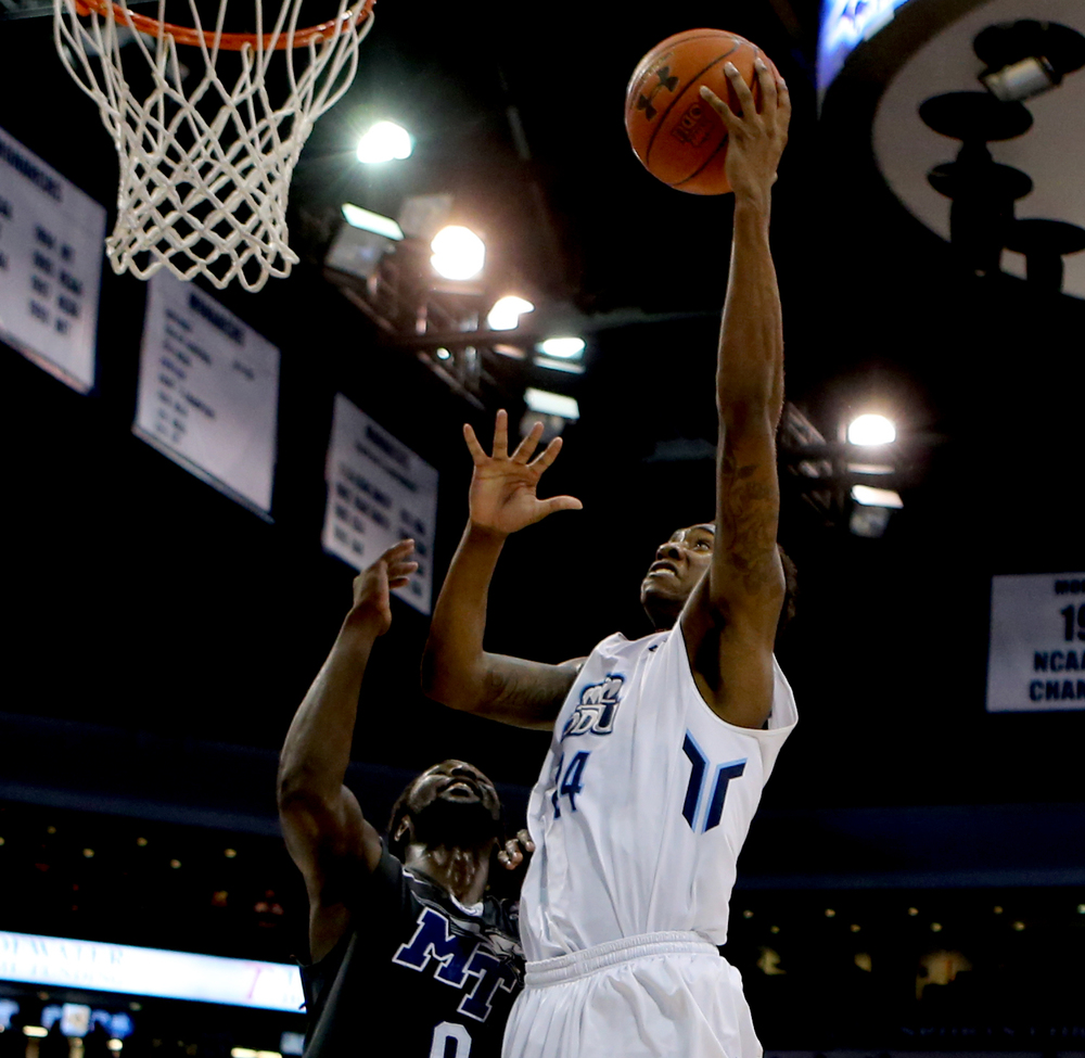 Old Dominion's Zoran Talley, right, shoots over Middle Tennessee's Darnell Harris in the first half of ODU's 64-61 loss, Saturday, Jan. 16, 2016 at the Constant Center in Norfolk. (Jason Hirschfeld | For The Virginian-Pilot)