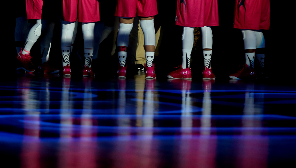 Clad in pink, the Old Dominion Lady Monarchs are introduced to the crowd before the start of the Hoops For The Cure game against Charlotte, Saturday, Feb. 6, 2016 at the Constant Center in Norfolk.  (Jason Hirschfeld | The Virginian-Pilot)