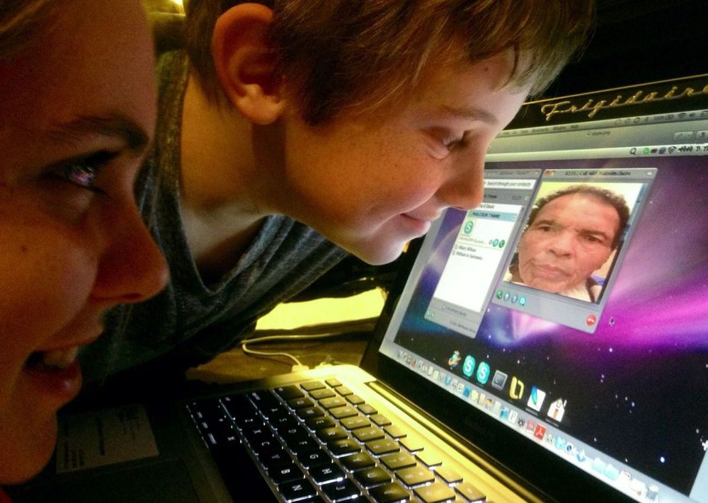 My kids, Caylee, let, and Ethan Skype with Ali last Christmas