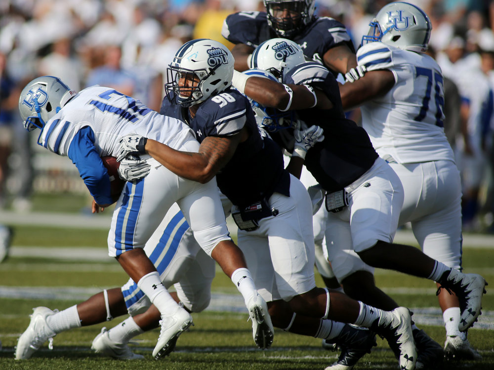 Old Dominion's Oshane Ximines sacks Hampton quarterback Jaylian Williamson in the third quarter of ODU's 54-21 win, Sunday, Sept. 4, 2016 at Foreman Field in Norfolk.